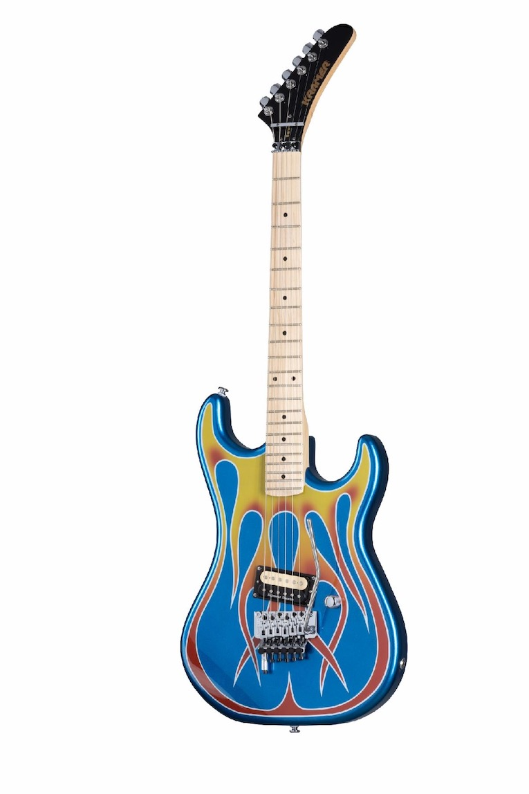 """Baretta Kramer Custom Graphics Collection guitar in """"Hot Rod"""" Blue Sparkle with Flames photo"""